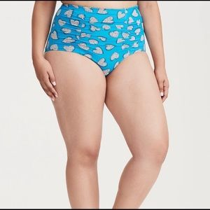 TORRID Blue Heart Ruched Swim Bottoms